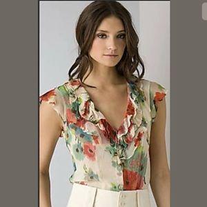Nanette Lepore Silk Dress Top Floral Ruffle V-Neck